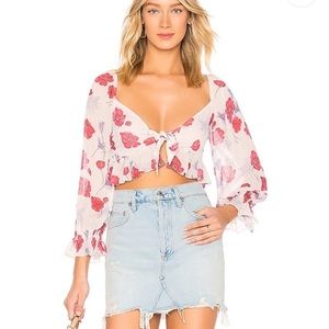 NWT Revolve Front Tie Ruffle Cropped Blouse